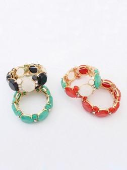 Occidente Sweet all-match Gemstone Elastic force Bracelets