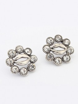 Occidente Metallic Personalità Hyperbolic Lips Stud Earrings