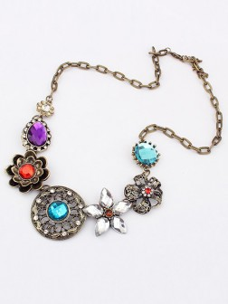 Occidente Bellissimo Retro Squisito Fiores con diamonds Collana