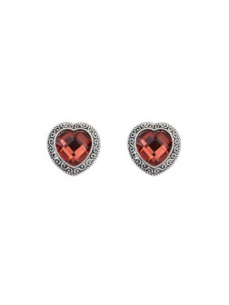 Occidente Retro Heart Gemstone Boutique Stud Earrings